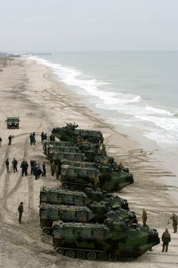 Marines often have a different view of the same beach. These are Amphibious Assault Vehicles practicing a beach invasion.